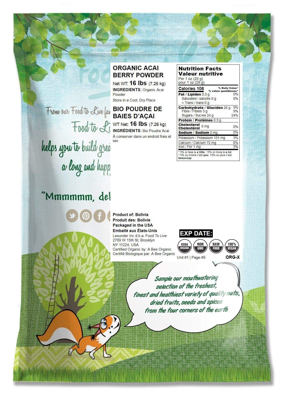 Organic Acai Berry Powder, 16 Pounds - Non-GMO, Raw, Vegan, Freeze-Dried, Unsweetened, Unsulfured, Bulk by Food to Live (Image #2)