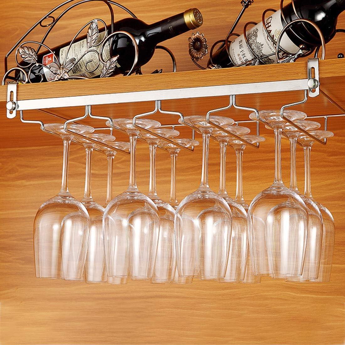 Soporte de Acero para Colgar Copas en la Cocina 27/×24/×7,5cm con 2 rieles Tosbess Soporte para Copas de Vino Bar o Restaurante