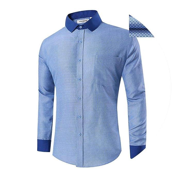 Amazon.com: Camisa de vestir estampada de manga larga para ...