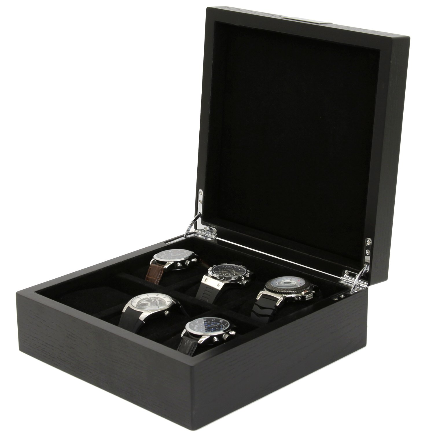 Engravable Watch Box 6 Watches Wood Black Finish Large Compartments Engraving Plate