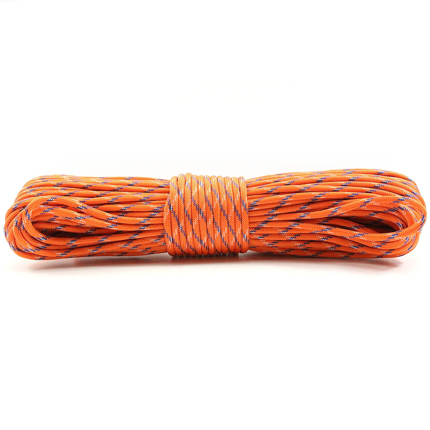 PSKOOK Survival Paracord Parachute Fire Cord Survival Ropes Red Tinder Cord PE Fishing Line Cotton Thread 7 Strands Outdoor 20, 25, 100 Feet (Orange Camo, 100)