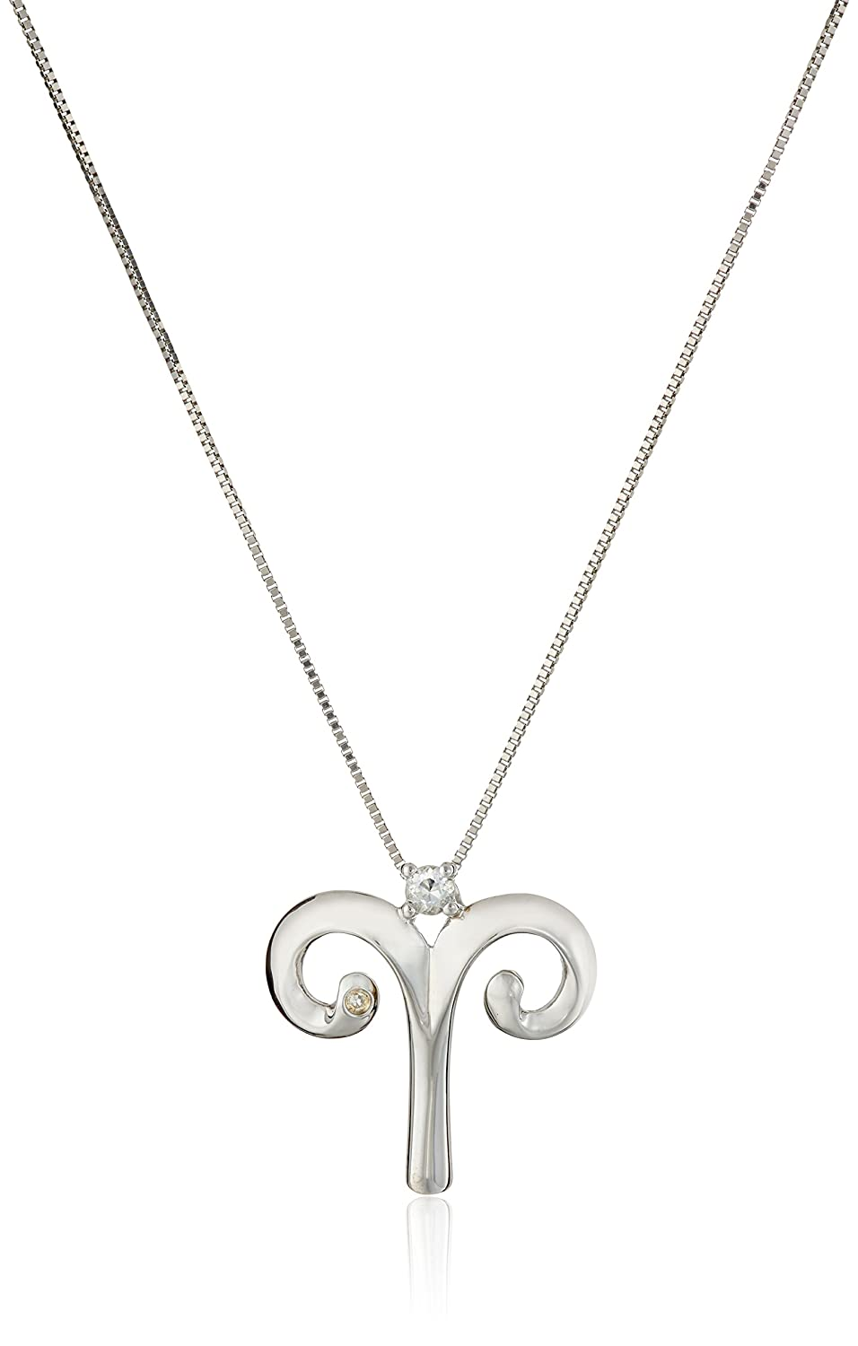 """Sterling Silver Zodiac and Birthstone Pendant Necklace, 18"""""""