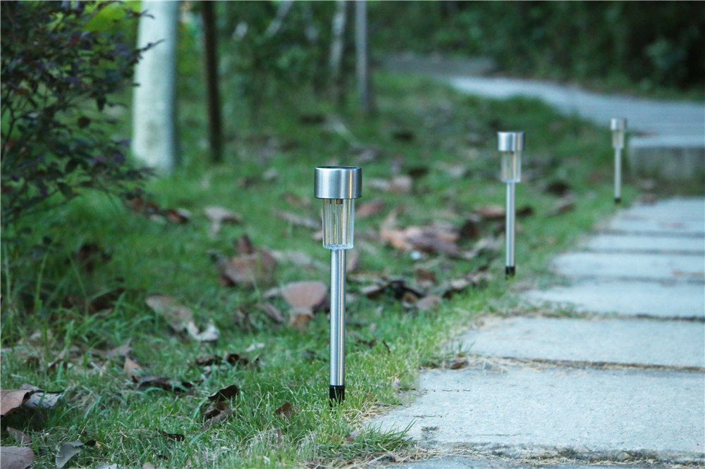 EcoCity Solar Lights Outdoor Garden Light Landscape Pathway Lights Stainless Steel-12 Pack