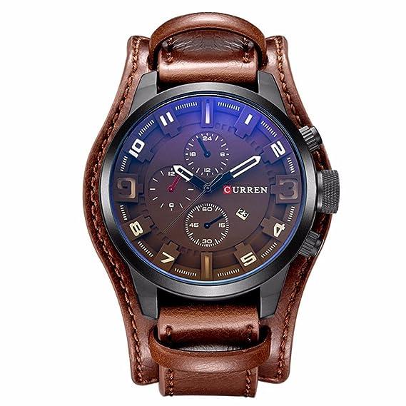 Curren los hombres de marca de lujo para hombre relojes de deporte Casual Top marca Luxury Cuarzo Reloj Correa de piel Military reloj muñeca macho reloj: ...