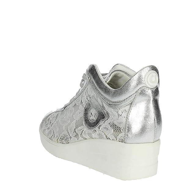 e389c8eac949a AGILE BY RUCOLINE Scarpe Donna Sneaker Zeppa Pelle E Pizzo Colore Silver  226 n° 40  Amazon.it  Scarpe e borse