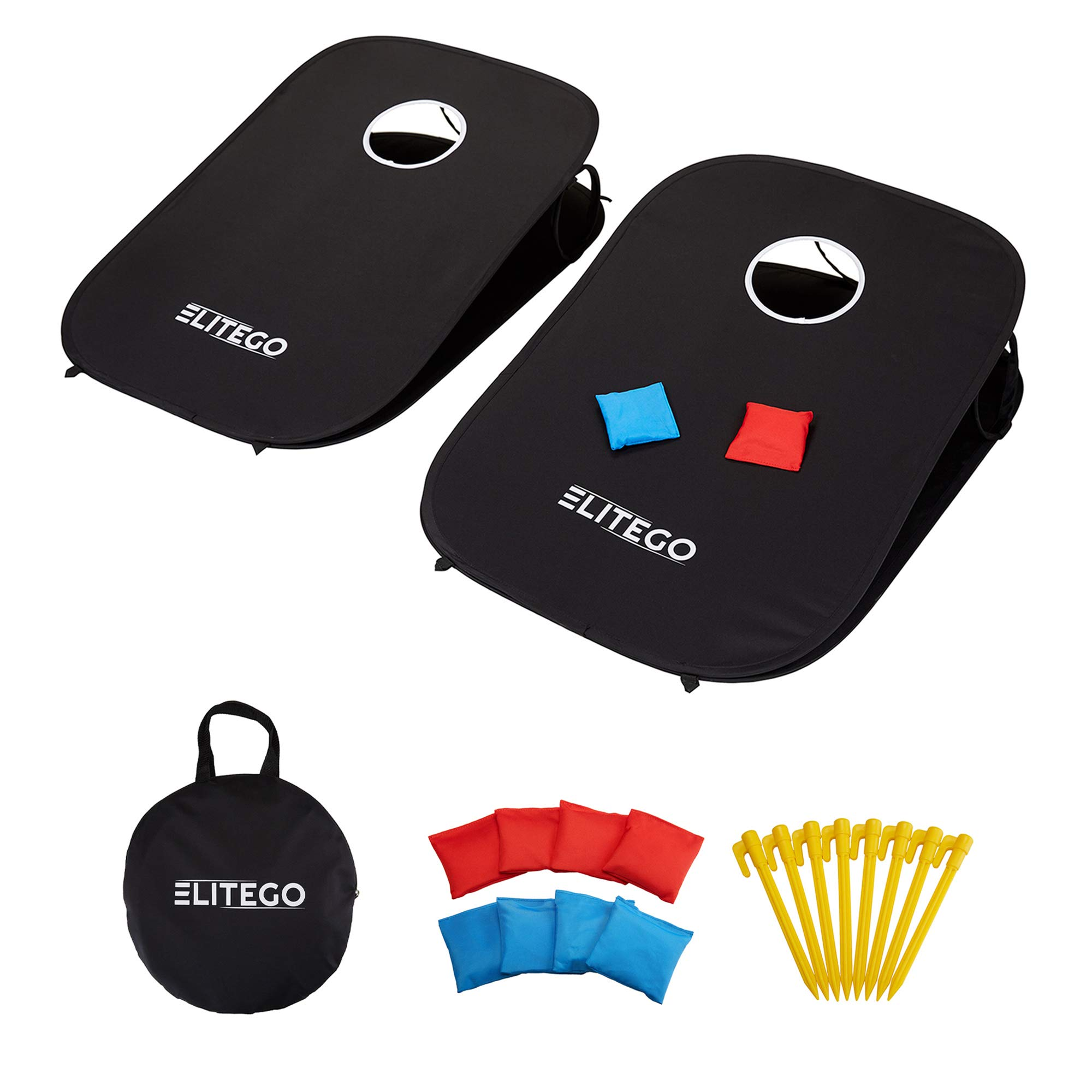 EliteGo Collapsible Portable Cornhole Boards Game Set with 8 Cornhole Bean Bags - (3 x 2 feet) (Black)