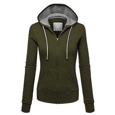 83384bfef AuntTaylor Womens Solid Cotton Long Sleeve Zipper Hoodies Hooded Sweatshirts