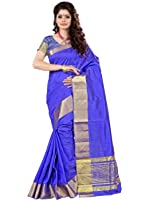e-VASTRAM Women's Tussar Silk Saree With Blouse Piece (Tab_Blue)