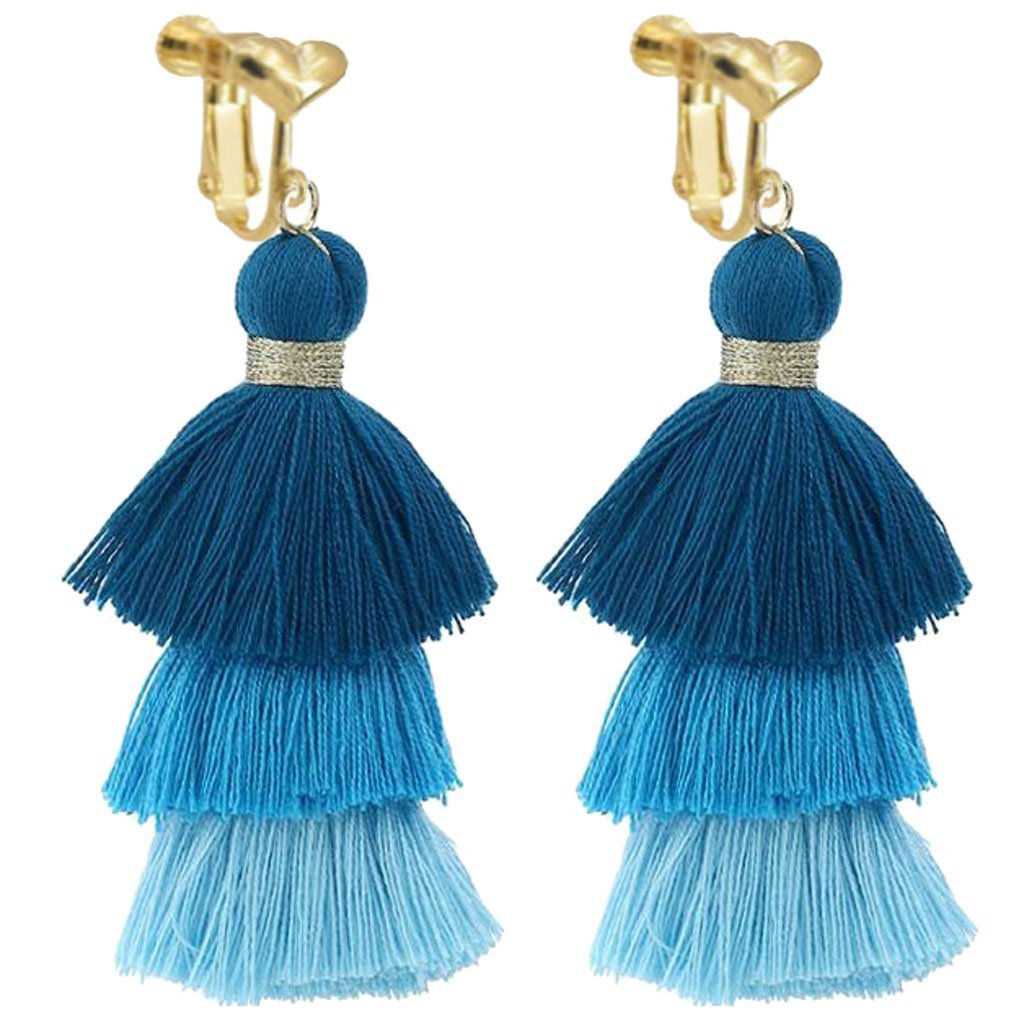 Bohemian Blue Three Layers Long Tassel Clip on Earrings Dangle Gold Plated For Girls Women Party Prom