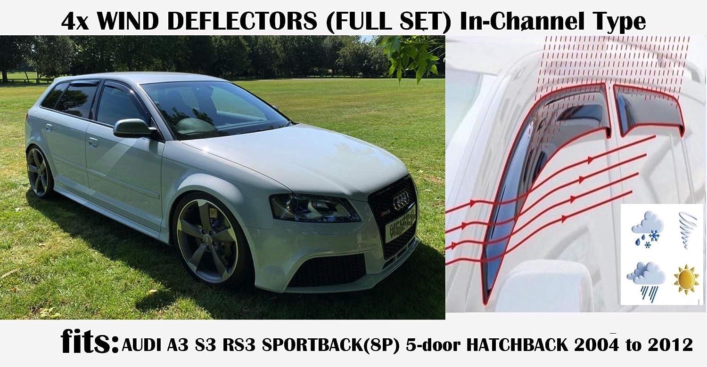 Oemm Windabweiser Für Audi A3 S3 Rs3 Sportback 5 Türer 2003 2004 2005 2006 2007 2008 2009 2010 2011 2012 2013 Acrylglas Seitenvisiere Fensterabweiser Auto