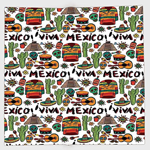 Scrunchie Peppers (iPrint Polyester Bandana Headband Scarves Headwrap,Mexican Decorations,Viva Mexico with Native Elements Poncho Tequila Salsa Hot Peppers Image,Multi,for Women Men)