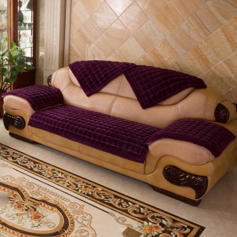 YANGYAYA Verdicken sie Sofa-Handtuch abdeckungen,All-Inclusive- Volltonfarbe Sofa Decken Sofa abdeckungen pet Protection Für 1,2,3,4 Kissen abdeckungen -lila 90x180cm(35x71inch)
