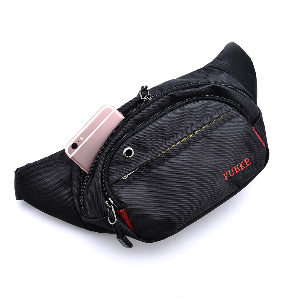 Teammao Waist Bag Multi-fonction Fanny Pack Belt Bag Travel Fanny Waist Pack Daypack with Headphone Pinhole for Running Hiking Cycling Camping Hunting Exercise. (black) by Teammao (Image #2)