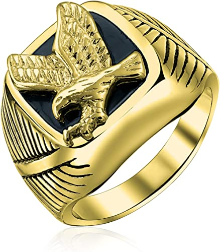 Mens Large Statement Black Patriotic USA Flying American Bald Eagle Square Signet Ring for Men Gold Plated Silver Tone Acciaio Inossidabile