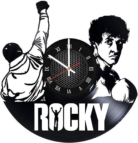 Rocky Balboa Vinyl Records Wall Clock – Sports Drama Film Wall Art Room Decor Handmade Decoration Birthday Christmas Vintage Modern Style Roman Numerals