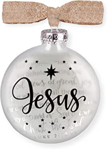 Lighthouse Christian Products Savior Has Been Born Silhouette 3.5 x 4 Glass Holiday Ornament