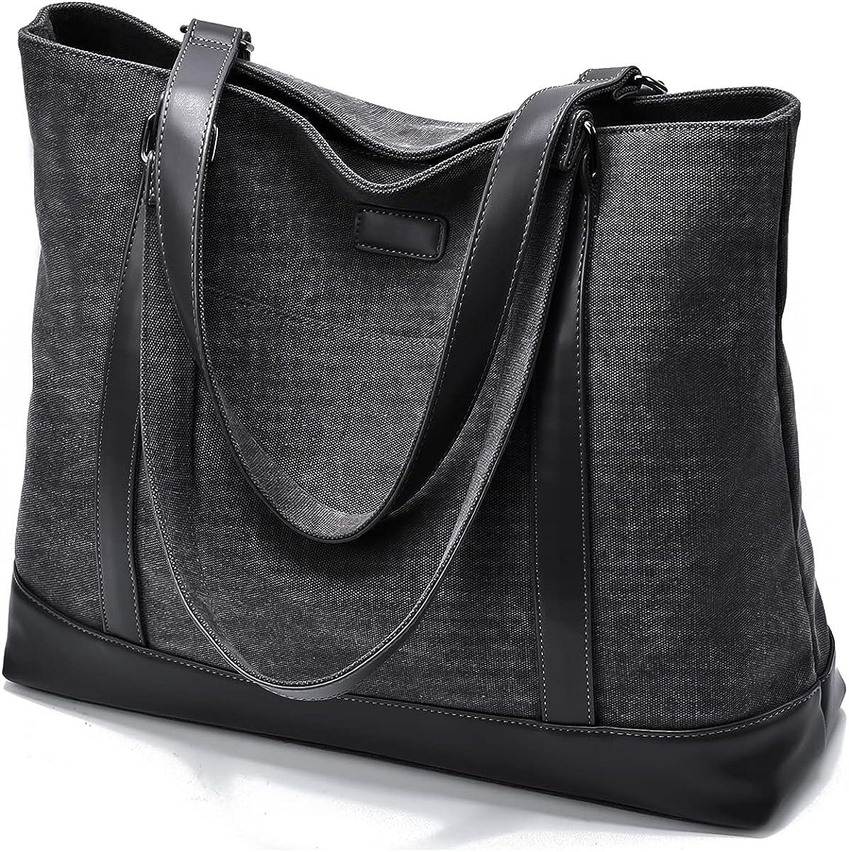 Black College Business Travel Blue Women Canvas Handbags Laptop Tote Bag Large Capacity Top Handle Bag Shoulder Bag Designer Purse for Work