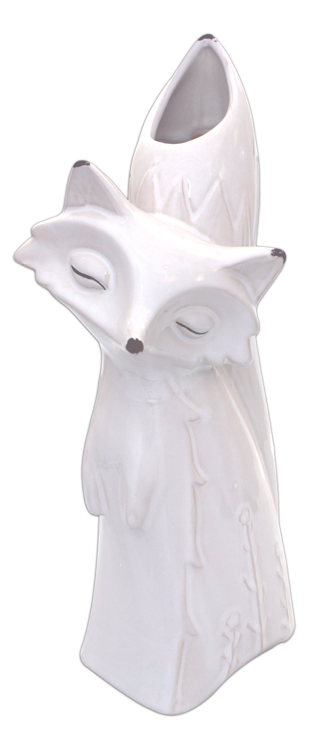 MayRich 14'' Tall White Crackled Porcelain Decorative Fox Vase