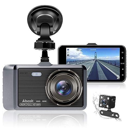 Cámara de Coche Abask Dash CAM 4 Visión Nocturna Full HD 1080P 170 Gran Ángulo Cámara de Delantero y Trasero con Sensor G WDR grabación de Bucle Monitor de Aparcamiento Sensor Movimiento