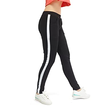 a233df68def9a ZEYO Women's Cotton Yoga Gym and Active Sports Fitness Tights with Stripe  (Black, White
