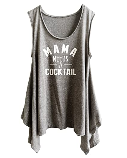 8c887d64368 TeeMixed Women Plus Size Flowy Flare Tank Tops Mama Needs Cocktail at  Amazon Women's Clothing store: