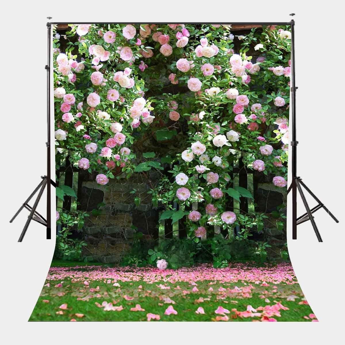 LYLYCTY 5x7ft Nature Scenery Backdrop Millennial Pink Flower Wall Green Leaves Photography Background A Vibrant Garden Backdrop LYLX008
