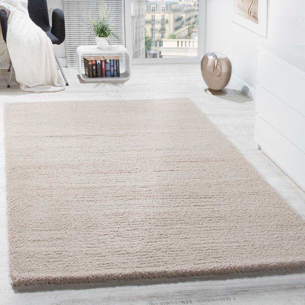 Paco Home Shaggy Teppich Micro Polyester Wohnzimmer Teppiche Elegant Hochflor Hellbeige, Grösse 200x280 cm