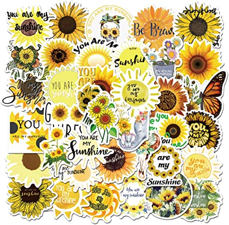 Human Heart Stickers Sunflower Stickers Hand-Drawn Watercolor and Marker Stickers Stickers Flower Stickers Artsy Vinyl Stickers