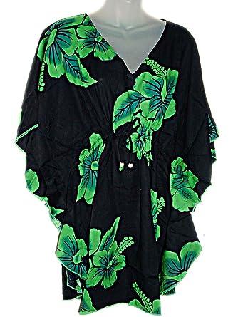 1bc0fd4bd34 Hawaiian Green Tropical Hibiscus Kaftan Tunic Cover Up Beach Dress Swimwear  (M-1X) at Amazon Women s Clothing store  Swimwear Cover Ups