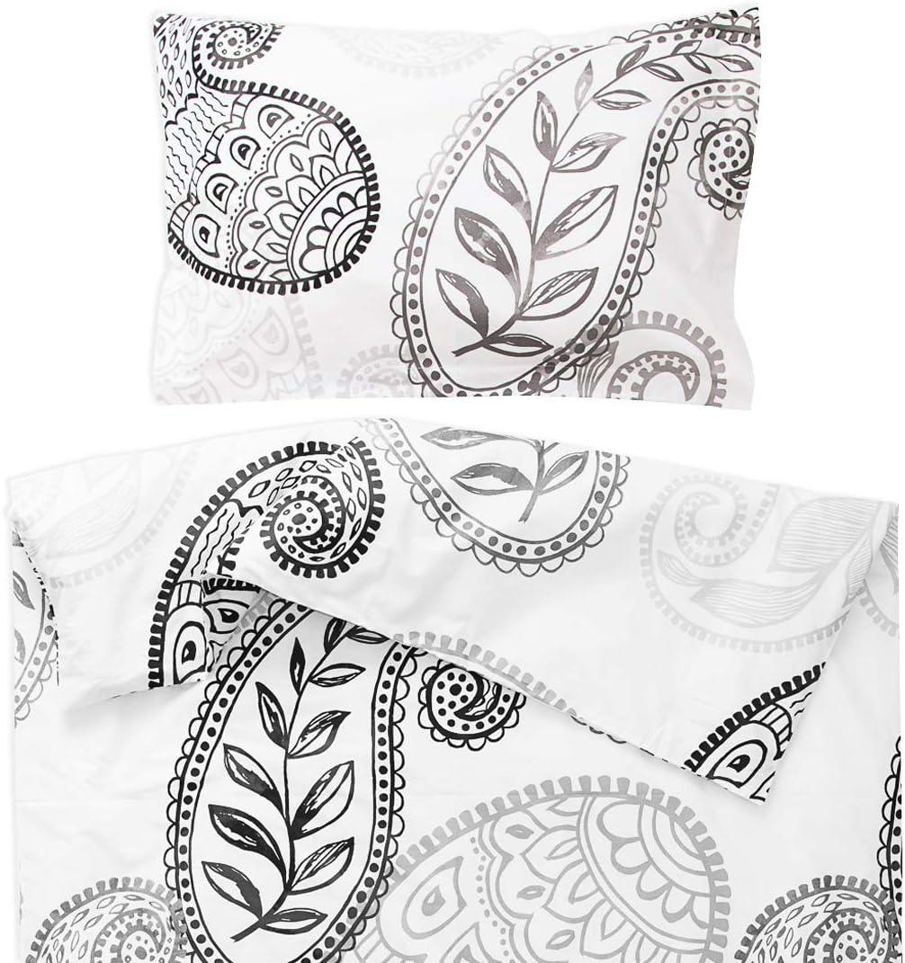 PatiChou 100/% Coton Parure Linge de lit pour b/éb/é Taie doreiller et Housse de couette 80x120 cm Jaune et Blanc