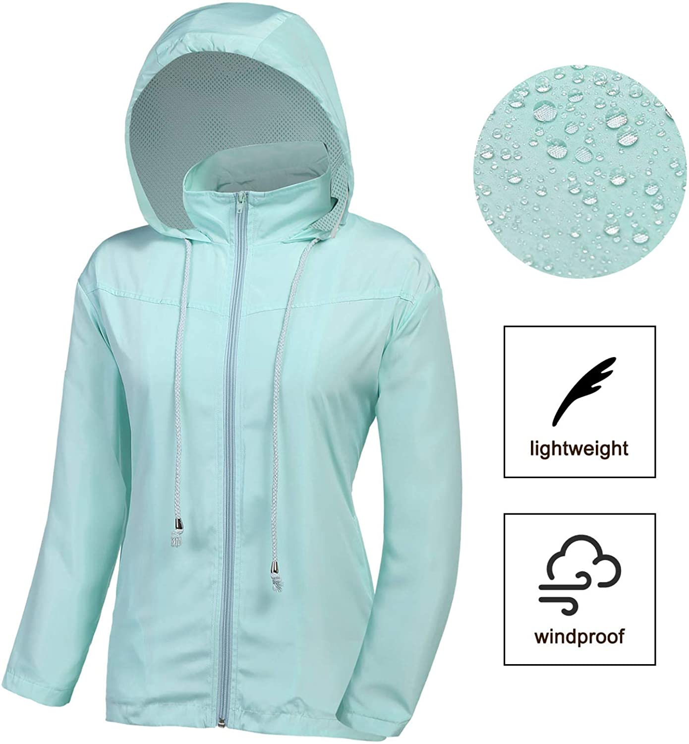 Womens Waterproof Lightweight Raincoats Jacket Rain Windbreaker Windproof for Cycling Walking Travelling Active Outdoor