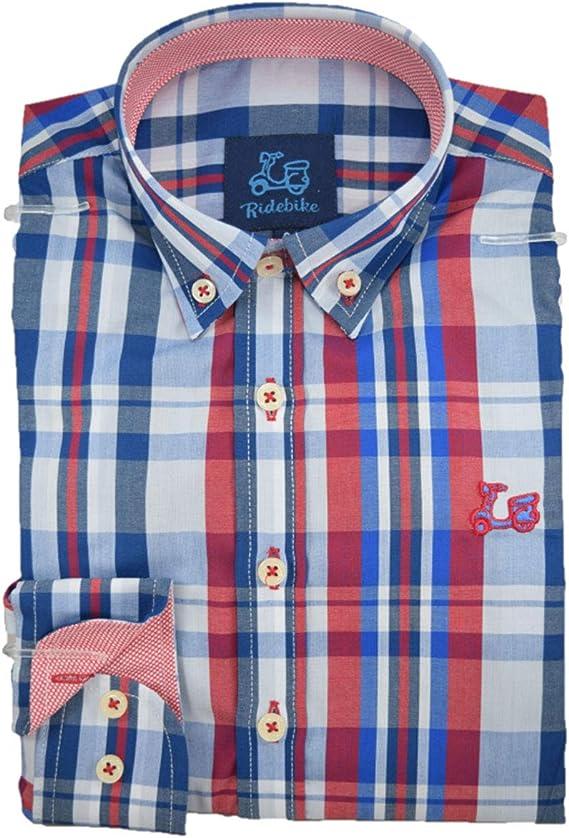 Ridebike Camisa Estampada Cuadros Azules y Rojos (1816): Amazon.es: Ropa y accesorios