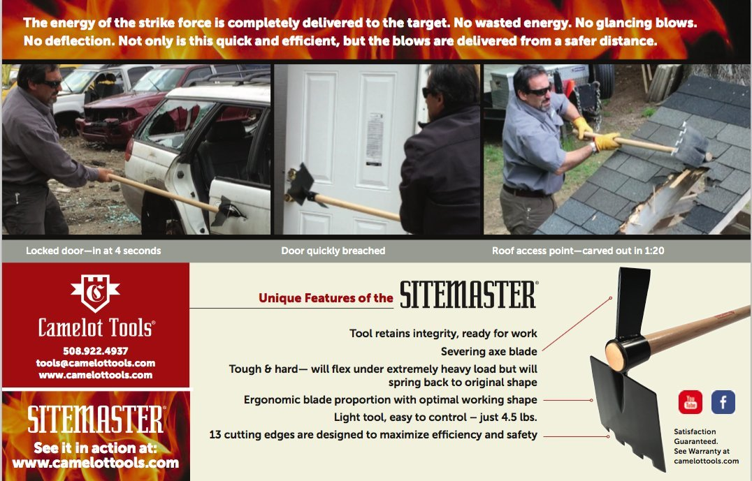 Camelot Tools Sitemaster I -Hoe/Mattock/Severing Axe/Fire Safety & Rescue Tool (w 43'' Ash Handle)