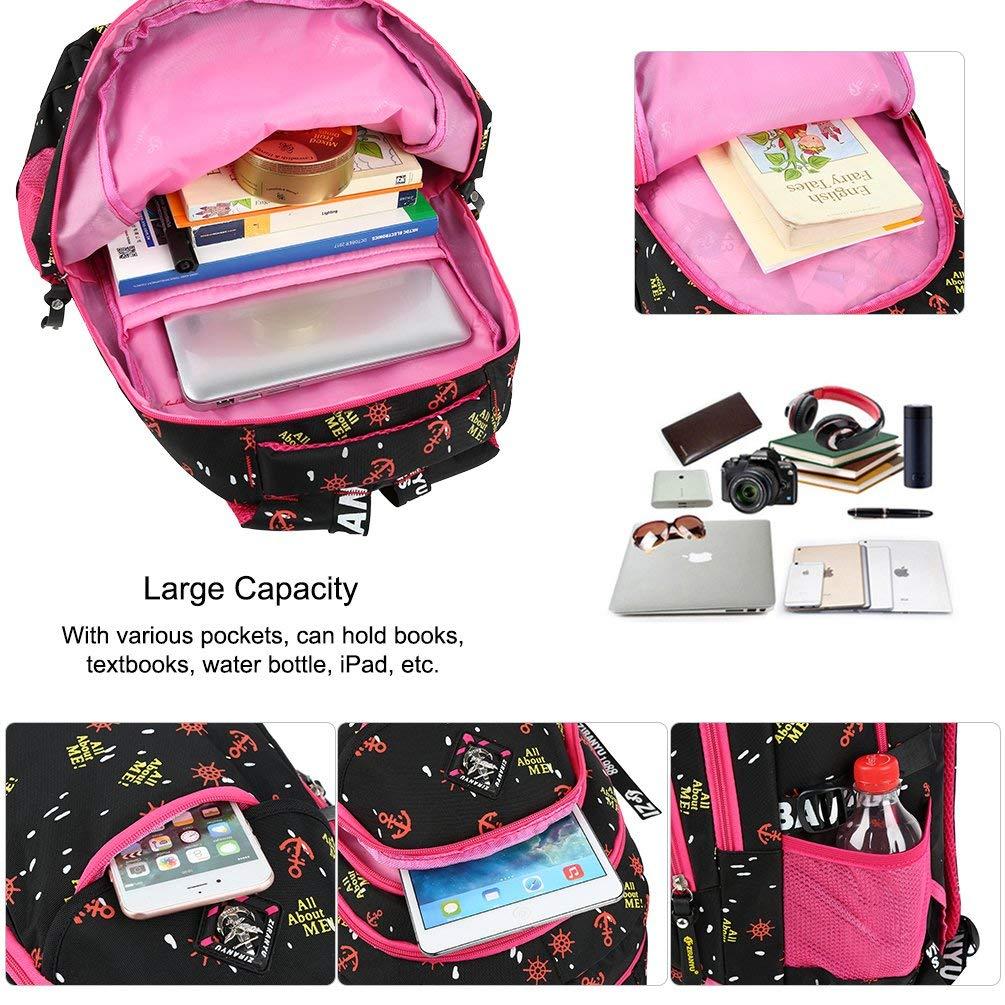 JL-Q Schultüten für den den den Ganzschulwagen der Mädchenwagen für das Gymnasium Rizier-Rucksack für Kinder von 6 bis 12 Jahren,Pink 117327