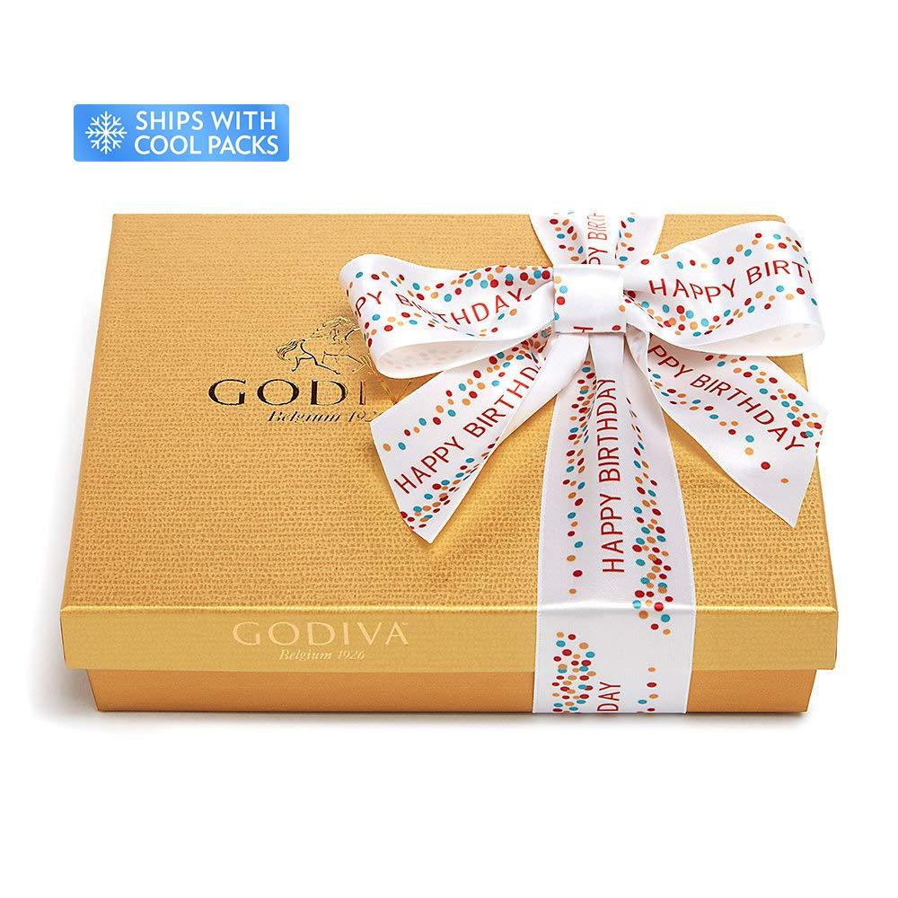 CDM product Godiva Chocolatier Assorted Chocolate Gold Gift Box, Happy Birthday Ribbon, Birthday Gift, 19 pc big image