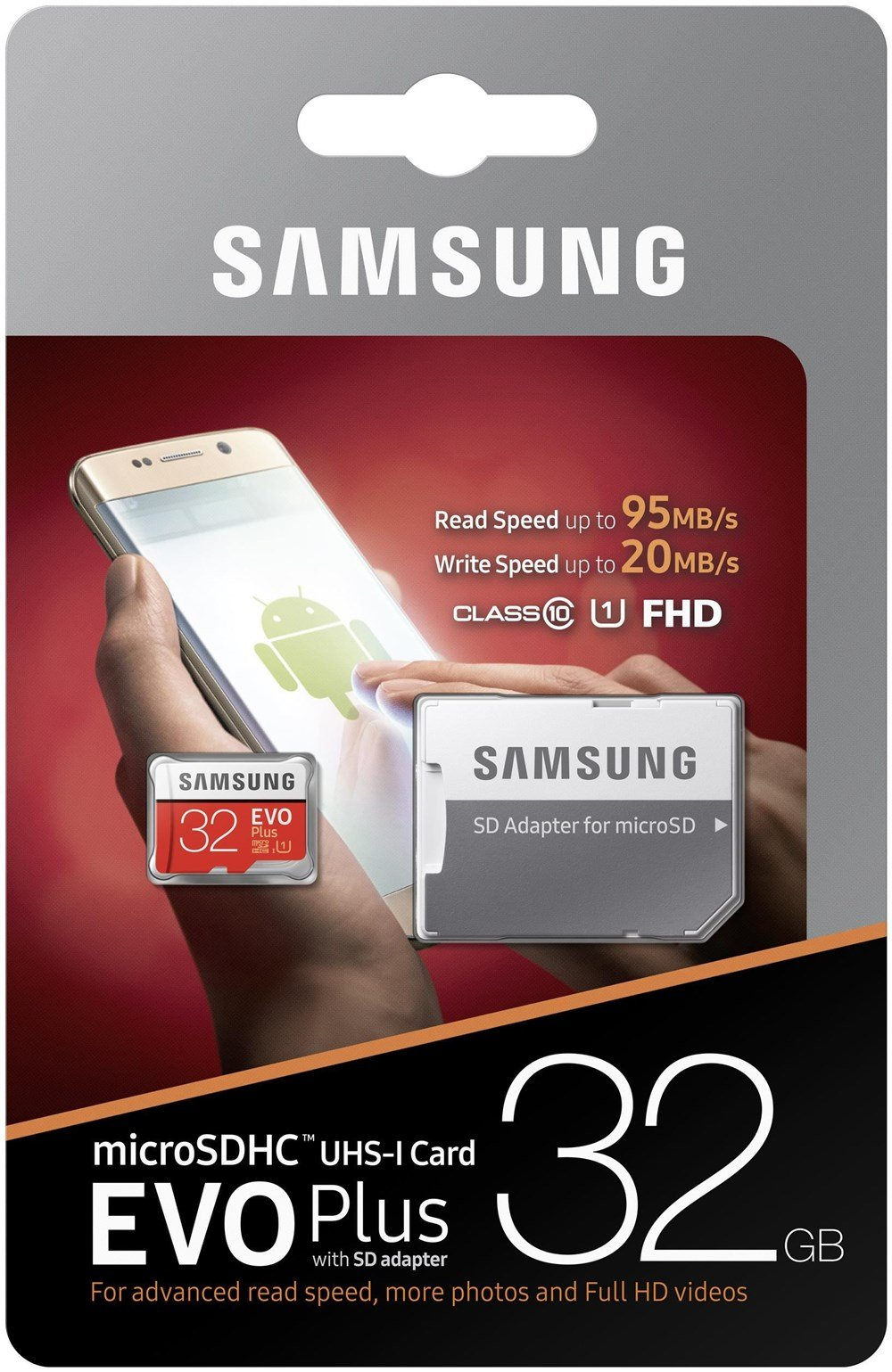 SAMSUNG 32GB EVO Plus MicroSDHC w/Adapter (2017 Model) 7 Samsung Original Models Available: MB-MC32GA, MB-MC64GA, MB-MC128GA, MB-MC256GA Compatible with a wide range of devices for both SD and micro SD (Includes Full-Size SD Adapter.) Excellent Performance for 4K UHD Video and broad compatibility across multiple applications