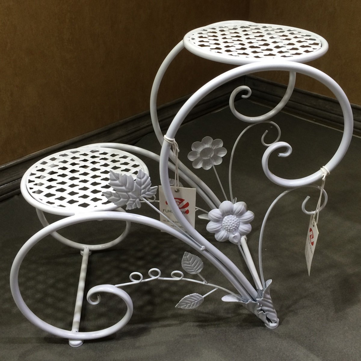 L;IAN Flower Pot Rack Iron Art European-Style Indoor Balcony Drop-Floor Flower Stand