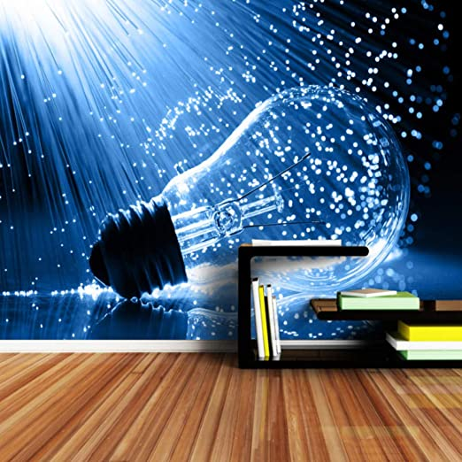 Papel Pintado Fotomural Bombilla de luz creativa Fondo de ...