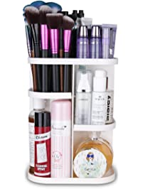 herwiss 360 rotating makeup organizer for cosmetic brushes lipstick essential oils organization - Bathroom Makeup Organizers
