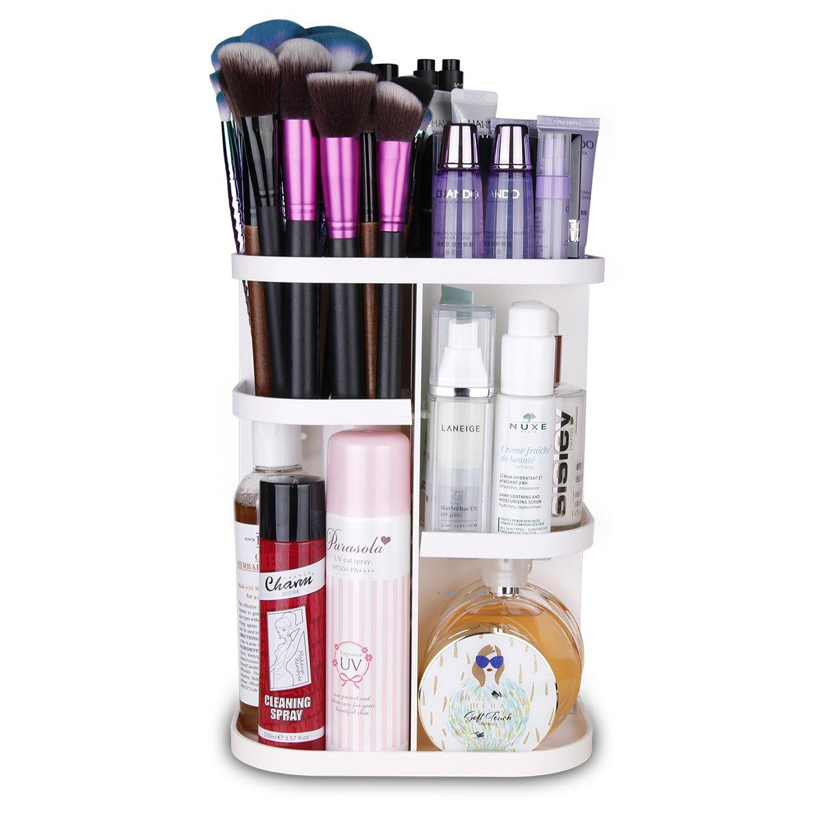 Playmont 2018 360 Degree Rotating Storage Box Adjustable Cosmetic Organizer Case Large Capacity Makeup Brushes Toner Creams Lipsticks More, Small, White