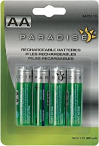 Sterno Home BA25115 Rechargeable Solar AA 900mAH Batteries, Green
