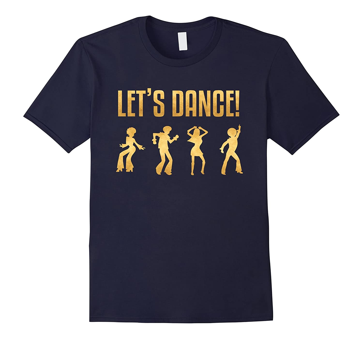 1970's Style Disco Dancers Dancing Retro Gold Design T-Shirt-TH