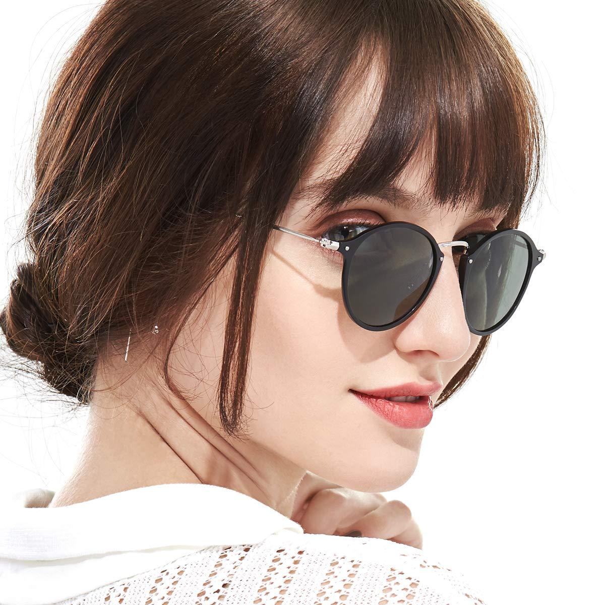 Retro Polarized Round Sunglasses for Women Vintage Circle Style 100% UV Protection(Black Frame/Green Lens) by SODQW