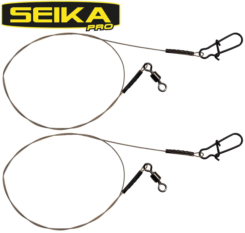 FTM Seika Pro Cable de Acero 30cm–2Compartimentos para caña de Pesca de Acero, hijuela para Pescar lucios, Lucio Antes Compartimento para Pesca Spinning
