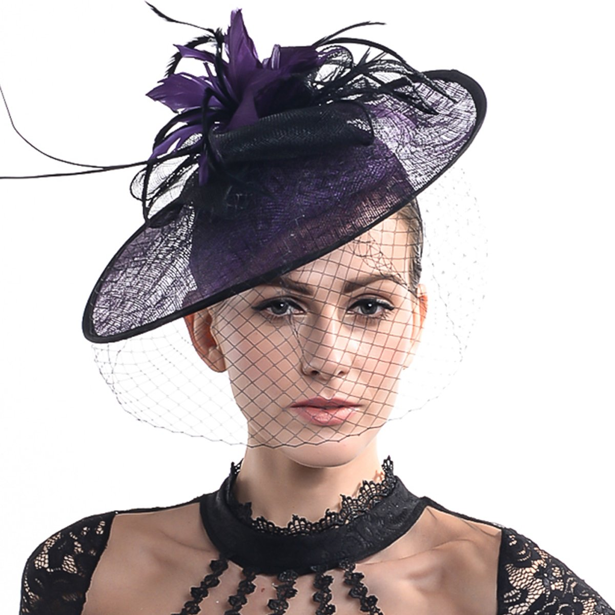 FORBUSITE Luxurious Sinamay Fascinators for Women Cocktail Hats HB6144-Black