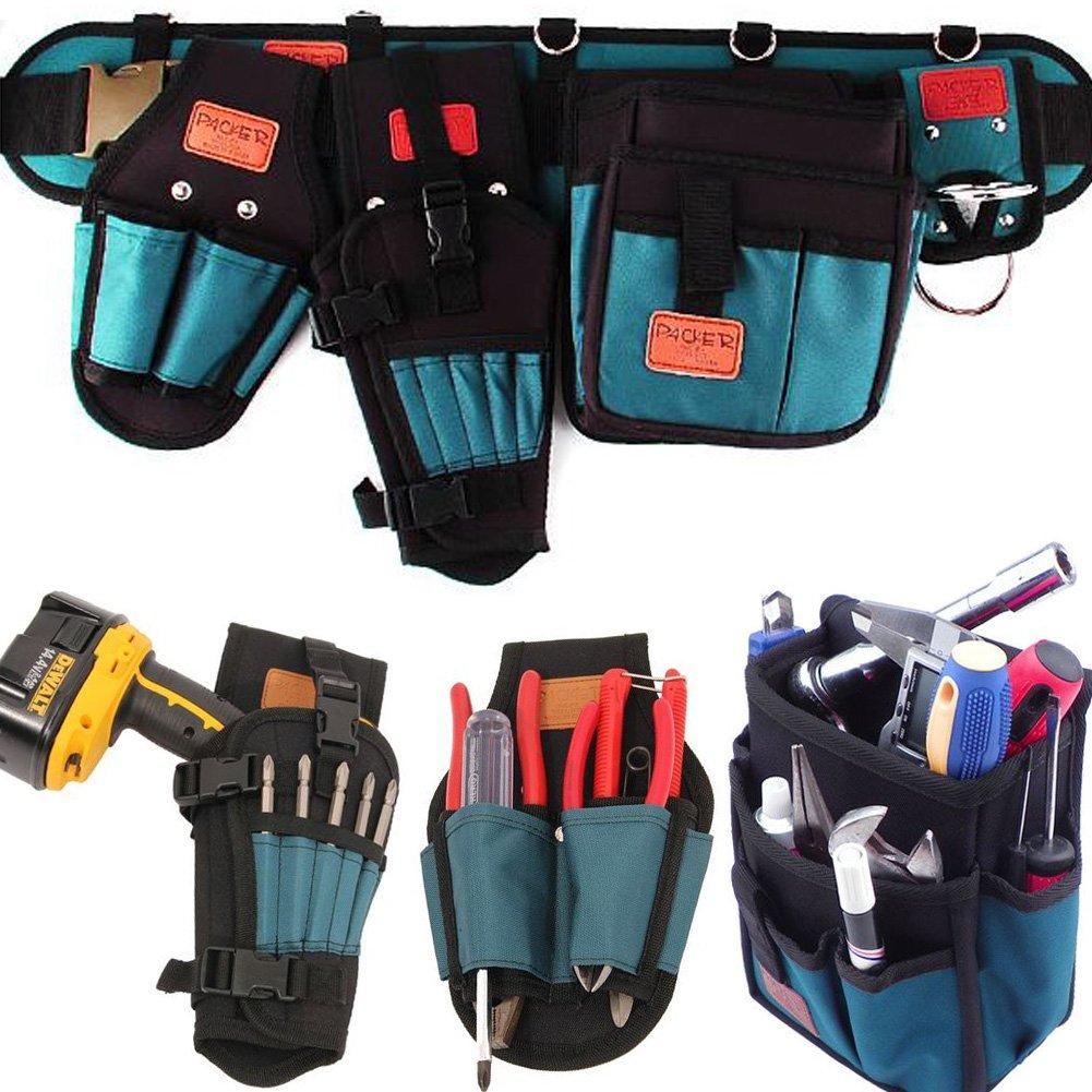HW 5P Electrical Maintenance Carpenter Tool Pouch Bag Technician's Tool Holder Work Organizer Framer's Tool Belt (Hammer holder, Drill holsters, Multi Nail pocket, Mesh Belt, Scissors Nipper pouch)