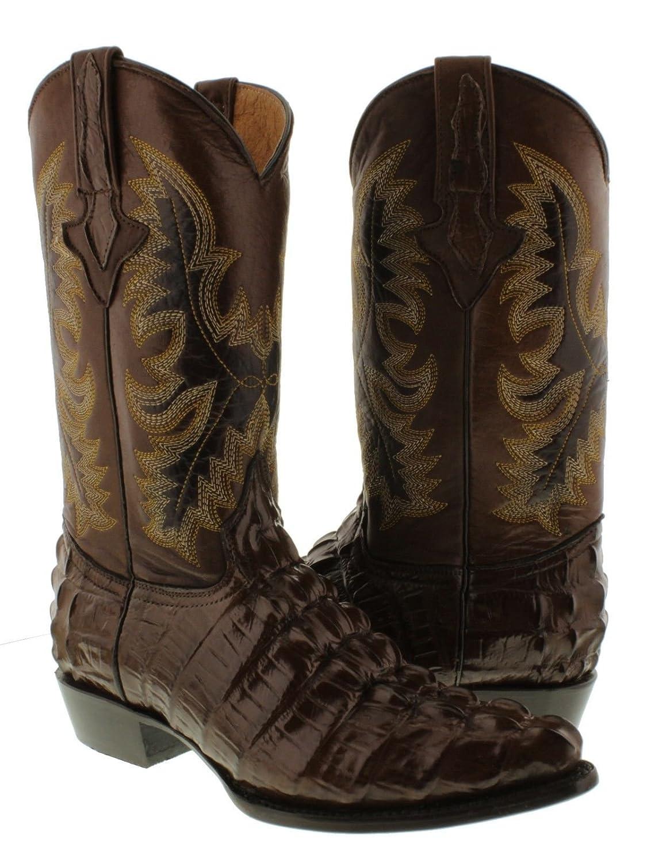 El Presidente - Men's Brown Crocodile Tail Design Leather Cowboy Boots J Toe
