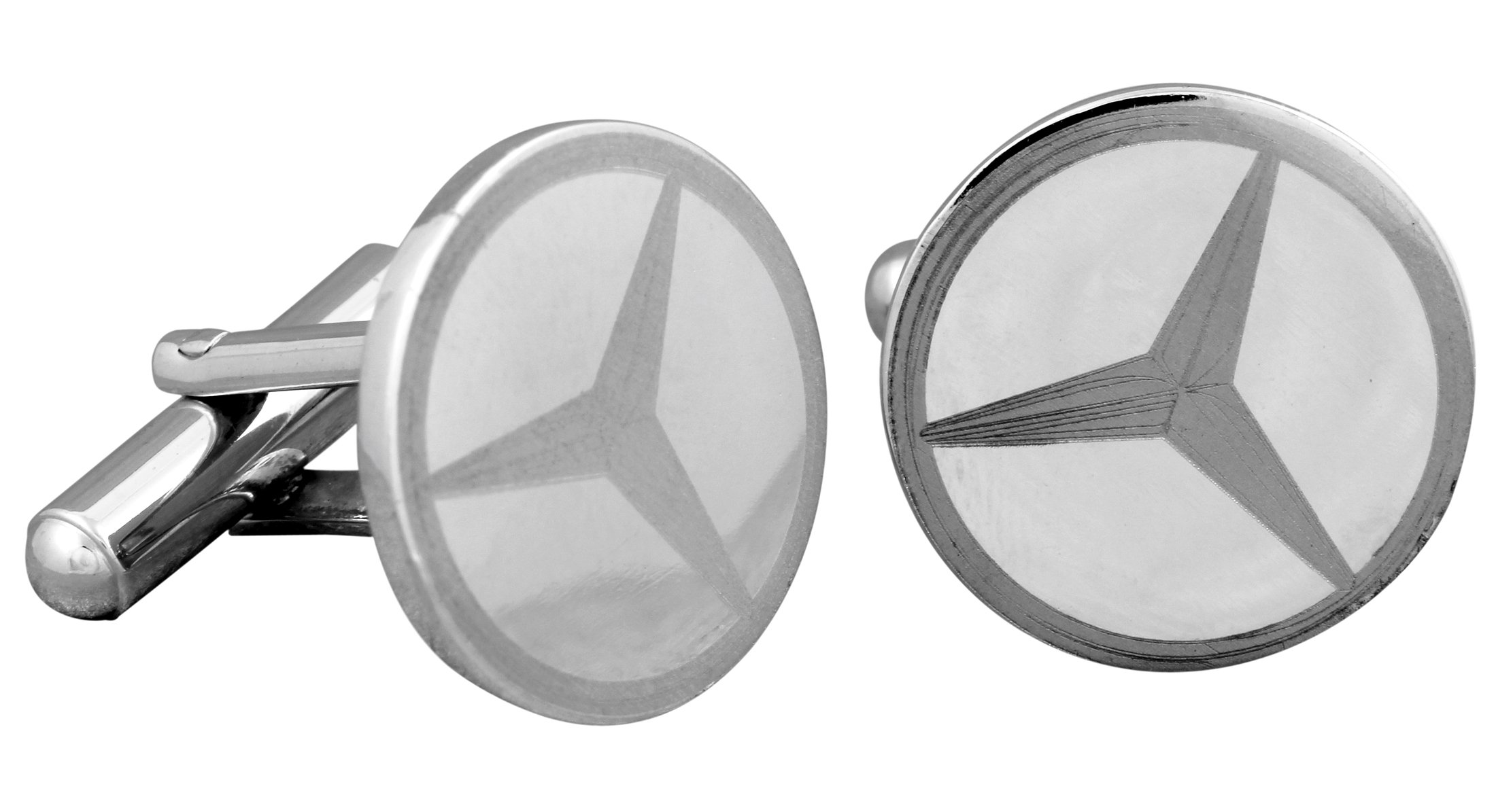 Fadkart Party Wear Mercedes Luxury Design Cuff links Men Ideal for Corporate Gifts (Silver)