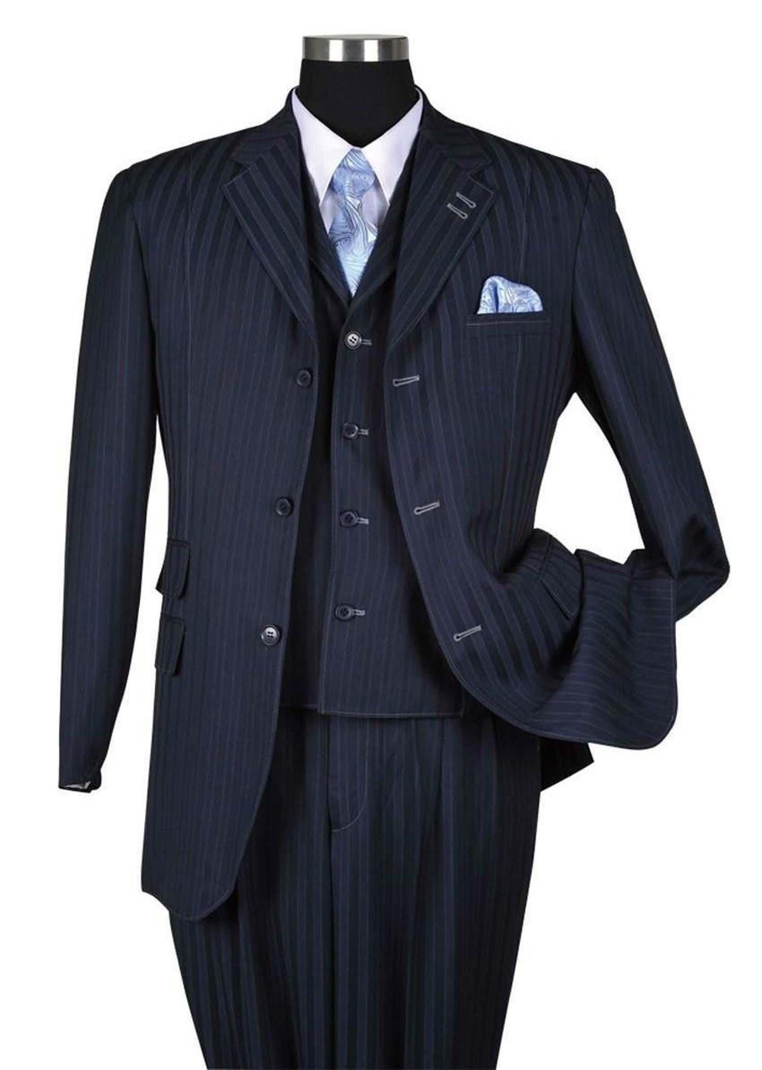 Milano Moda Fancy Stripe High Fashion Suit with Vest & Pants 5267-Navy-44R