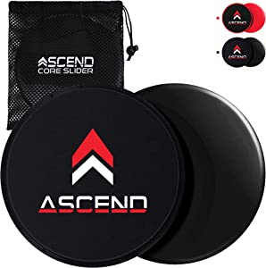 Ascend Core Slider Exercise Discs with Mesh Bag - Dual Sided Portable Gliding Fitness Equipment for Home Workout, Yoga, Pilates, Travel